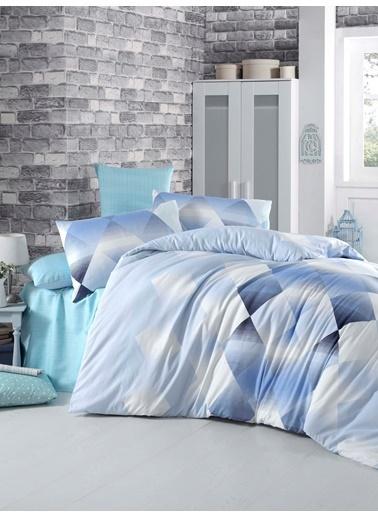 Komfort Home Çift Kişilik Polycotton Nevresim Takımı (Petek Mavi) Mavi
